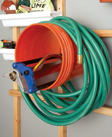 <b>Better hose holder</b></br> Your hose will hold its shape better and last longer if you coil it over a large bucket for winter storage.