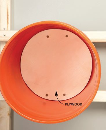 <b>Mounting technique</b></br> Mount the bucket by driving screws through plywood. Without plywood, the screws will pull through the bottom of the bucket.
