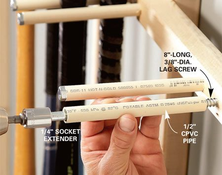 <b>Lag screws provide the muscle</b></br> Screw a scrap of 2x2 to the face of a vertical 2x2 to hold the hangers. Slip a 6-in. length of 1/2-in. CPVC or PVC pipe over an 8-in.-long, 3/8-in.-diameter lag screw. This CPVC sleeve will prevent the lags from scratching the sports gear.