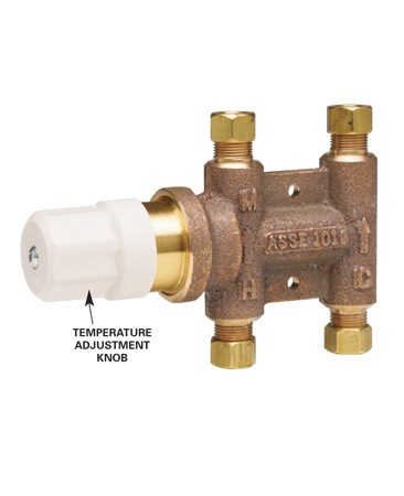 <b>Close-up</b></br> Turn on the hot water and adjust the tempering valve to obtain 104 degrees F. or less.