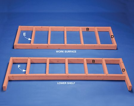 <b>Photo 1: Frames</b></br> Assemble the frames for the work surface and lower shelf.