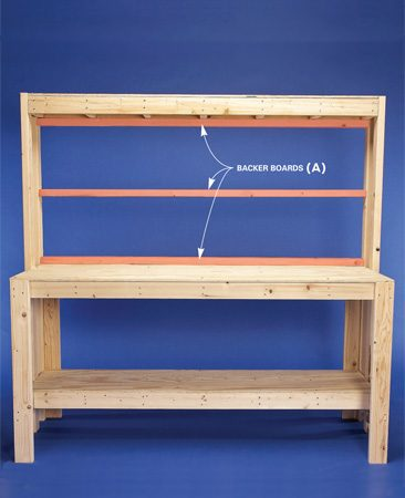 <b>Photo 8: Put it all together</b></br> Screw the legs to the bench and add the backer boards