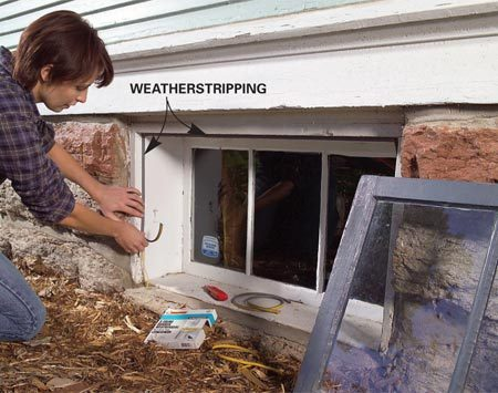 <b>Seal entrances with weatherstripping</b></br> Seal doors, windows and basement sashes with adhesive- backed weatherstripping. Clean the surface first so the weatherstrip will adhere well.