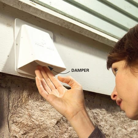 <b>Check the condition of the damper</b></br> Examine dryer vents to ensure the damper isn't stuck open or broken off completely. Also check that the seal between the vent and the wall is tight.