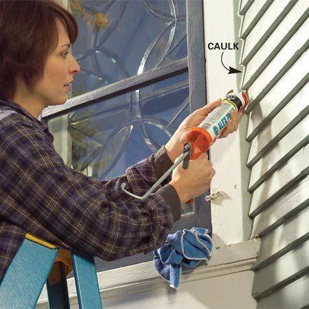 <b>Use acrylic latex caulk to fill gaps</b></br> Fill gaps between trim and siding with acrylic latex caulk. Keep a wet cloth handy to clean up any stray caulk. Smooth the bead with a wet finger.