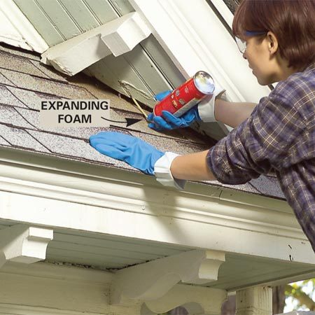 <b>Fill soffit openings with expanding foam</b></br> Pull nests from the soffit gaps and then fill these openings with expanding foam. After the foam hardens, cut off the excess with a utility knife.