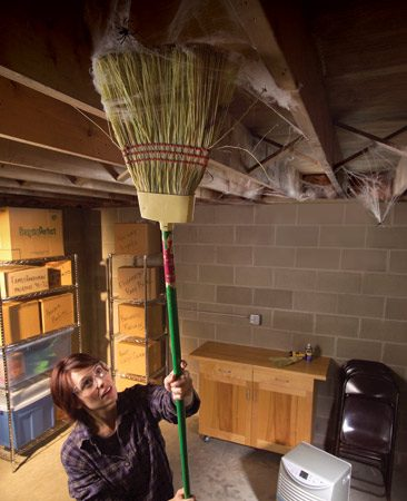 <b>Dehumidify and clean up cobwebs</b></br> You can virtually eliminate spiders in your basement by using a dehumidifier to maintain a 40 percent humidity level and vigilantly sweeping down cobwebs whenever they appear. Keep the basement window sills brushed clean too. In a matter of weeks, the spider population will die down significantly.