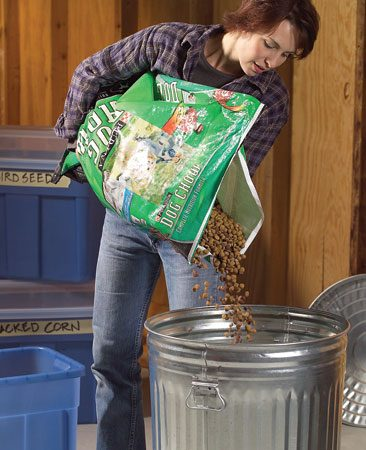 <b>Use metal or plastic containers to store food</b></br> Store pet food in a lidded metal trashcan, as mice cannot climb the slick, vertical sides of the can. Sealed plastic containers are also a good option.