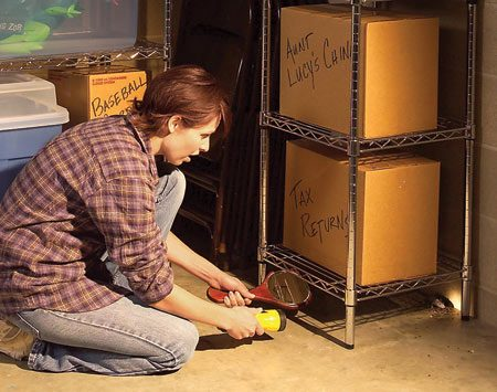 <b>Hunt for mouse droppings periodically</b></br> Store items off the floor on wire rack shelving to prevent moisture from collecting underneath. Look for mouse droppings and other evidence of infestation with a flashlight and mirror.
