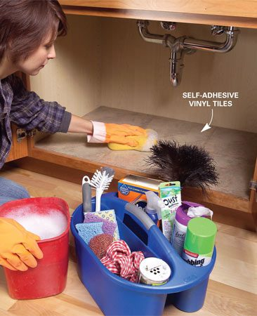 <b>Self-adhesive tiles clean up easily</b></br> Tidy up under the kitchen sink. Store items in a caddy so you can easily clear out the cabinet for cleaning and inspection. Self-adhesive tiles provide an easy-to-clean surface.