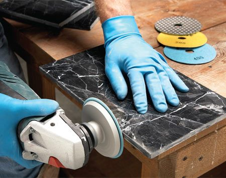 <b>Make your own trim by polishing edge pieces</b></br> Save money and get a better looking tile job by making your own trim pieces for marble, granite and other stone tile jobs. Our expert prefers the honeycomb-style dry diamond polishing pads with hook-and-loop fasteners. They allow him to quickly run through a series of grits from 60 to 800 or higher without wasting a lot of time changing pads.  This type of disc requires a variable speed grinder because the maximum allowable rpm is about 4,000.
