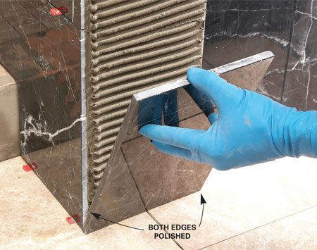 <b>No need for bullnose trim</b></br> Take the top of a shower curb, for example. You would have to buy enough bullnose trim to cover both edges, and you'd end up with a grout joint down the center where the two rows of bullnose meet. Dean covers the curb with one piece of stone, polished on both edges.
