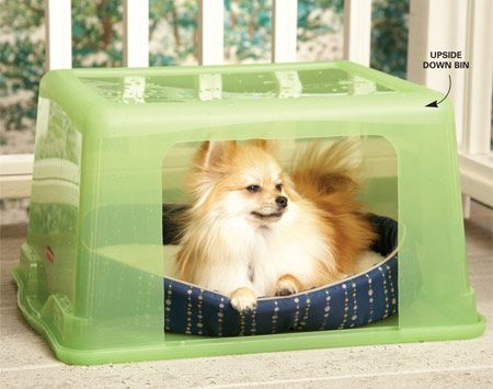 <b>Use a plastic storage bin for a dog house</b></br> <p>A nice little doghouse  that will hold up in the rain can cost $100.   But you can make your own  for   a fraction of the price  using a plastic storage bin. Cut a small hole in the bin,   flip it over on its lid  and stick a dog bed inside it. Your dog will love watching   the rain from inside his  snug little house, and you'll save   $85! Don't be surprised  if your cat likes it so much you'll have to   make one for her too. </p>