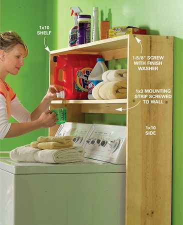 <b>Laundry supply shelf</b></br> Make laundry day easier with this shelf for all your detergents, stain removers and other supplies. Build this simple organizer from 1x10 and 1x3 boards. If you have a basement laundry room, you may need to cut an access through the shelves for your dryer exhaust.