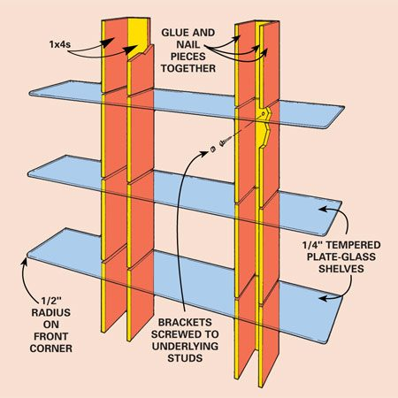 <b>Tempered glass and wood shelf</b></br> Build this simple display shelf from 1x4s and tempered glass. Secure the short side sections to the 48-in.-long back sections using wood glue and 4d finish nails. Paint the brackets and screw them to the wall. Buy round cornered tempered glass shelves and slide them in place. Build this simple display shelf from 1x4s and tempered glass. Secure the short side sections to the 48-in.-long back sections using wood glue and 4d finish nails. Paint the brackets and screw them to the wall. Buy round cornered tempered glass shelves and slide them in place.