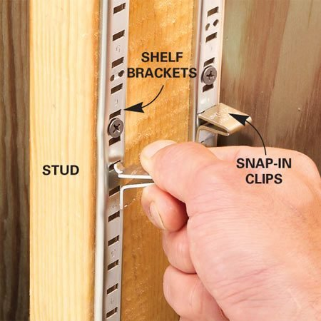 <b>Screw shelf brackets to studs</b></br> Store small containers—spray paint, putty cans, glue bottles—right in the wall! Screw shelf brackets (6-ft. lengths cost $1.50 each at home centers) to the studs, then install shelves, cut from standard 1x4 boards, on adjustable clips ($2 for a bag of 12). The boards fit perfectly; there's no need to saw them to width.