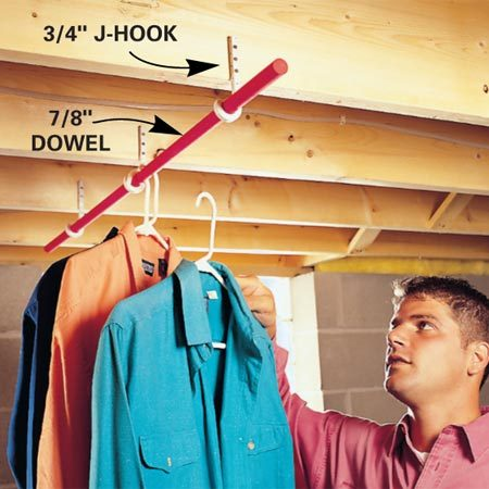 <b>Attach J-hooks to joists</b></br> If you need a clothes rod in the laundry room and you have exposed joists, check out this simple, solid and fast way to get it. Attach 3/4 in. J-hooks (these are typically used for hanging pipe) to the joists and snap a 7/8-in. dowel in the curve.