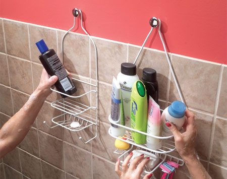 <b>Hang shower shelves from cabinet knobs</b></br> If you need more than shampoo and a bar of soap in the shower, here's how to provide space for all your vital beauty potions: Get a couple of those shelves that are designed to hang from a shower arm and hang them on cabinet knobs. Use No. 8-32 hanger screws ($1) to screw the knobs into studs or drywall anchors.