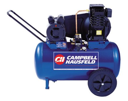 <b>Photo 3: High CFM compressor</b></br> Blast big bolts with a powerful impact wrench and a heavy-duty compressor. This model has a 20-gallon tank, twin pistons and a fully cast iron pump. This 5.5 CFM compressor has oil lubrication and costs about $540.