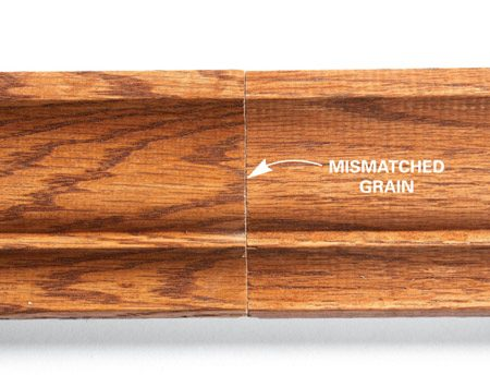 <b>Photo 1: Poor grain match</b><br/>Buy material with similar grain patterns for a consistent appearance.