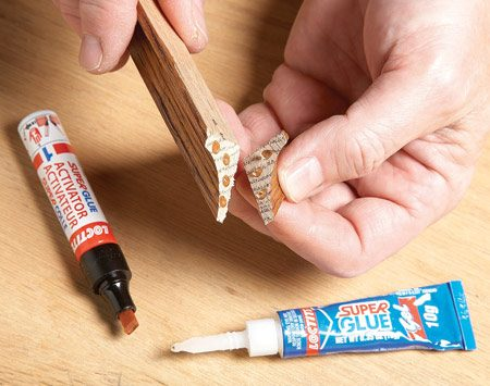 <b>Photo 1: Apply adhesive and activator</b></br> Apply super glue on one part and the activator on the other.