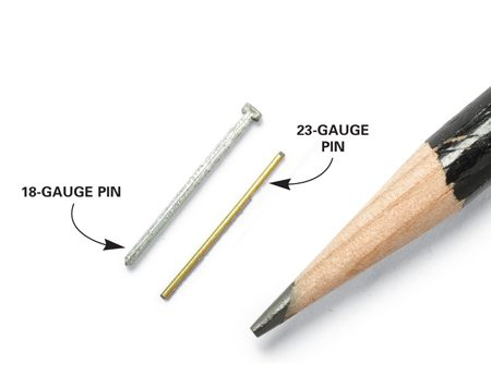 <b>Close-up of pins</b><br/>Pinners and micro pinners use nails with very small diameters.
