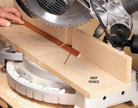 <b>An auxiliary miter fence</b></br> Add a fence to your miter saw for greater accuracy and efficiency.