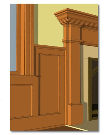 <b>Mantel, wainscot and window trim design</b></br> This 3-D drawing program simplifies design work.