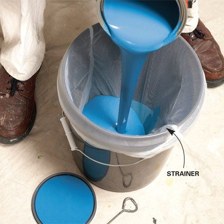 <b>Strain the paint</b></br> Pour the freshly mixed paint through a straining cloth to remove finish-marring lumps.