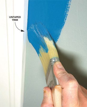 <b>Cutting-in technique</b></br> Paint right to the edge on your second pass.