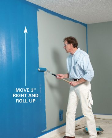 <b>Photo 4: Reload and roll up</b></br> Reload the roller with paint, move over 3 inches and roll up the wall.