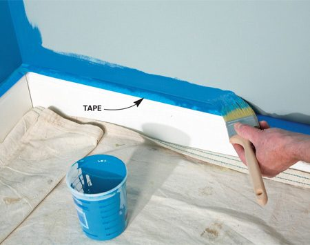 <b>Tape off horizontal trim</b></br> Tape on horizontal trim catches roller spatters.