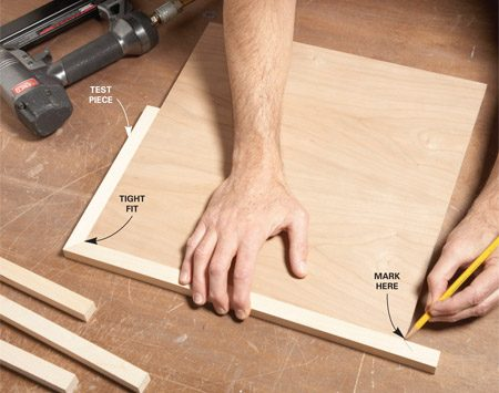 <b>Use test pieces</b><br/>Tack a mitered scrap of edging to one side. Use it to hold the first edging piece in position. Hold the mitered end tight to the mitered scrap while you mark for the opposite miter.