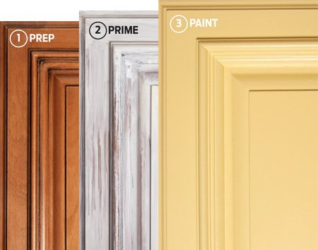 <b>New-looking cabinets in 3 steps</b></br> Clean the old cabinets thoroughly, prime with a stain-blocking primer, and then paint with a high-quality latex enamel.