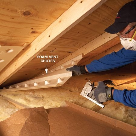 "<b>Photo 2: Add vents</b></br> <p>Pull the existing   insulation   away from the roof.   Position the new   vent chute so the   bottom extends   6 in. into the overhang   and staple it   into place. Olson   suggests using a   squeeze stapler   instead of a hammer   stapler. ""It's   more accurate and   there's less chance   you'll crumple the   chute."" </p>"