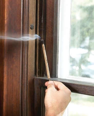"<b>Draft test</b></br> On a windy or cold day, move a smoking incense stick along the perimeter of your ""drafty"" windows to detect either incoming or outgoing airflows. Make sure to note whether leakage occurs around the window sash itself or around the trim."