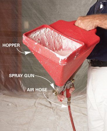 <b>Hopper gun</b><br/>Buy a hopper gun like this and connect it to any 2.5-cfm or larger air compressor.