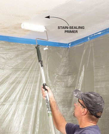 <b>Photo 3: Prime</b></br> Paint the ceiling with a fast-drying primer/sealer. Let it dry before applying the spray texture.