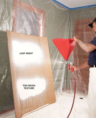 <b>Photo 5: Practice first</b></br> Practice on cardboard or a piece of drywall to get a feel for spraying. Adjust the gun's tip and trigger until you get a consistent spray pattern that's easy to control.