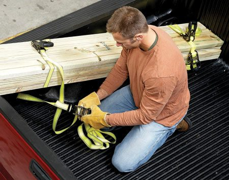 <b>Don't be casual about small loads</b></br> Light loads can rest on the tailgate. But they still have to be secured. Don't fool yourself into thinking they'll stay put because the longest portion is inside the bed. Use ratchet straps on the bundle in two places and secure each end to the anchor rings on the bed.