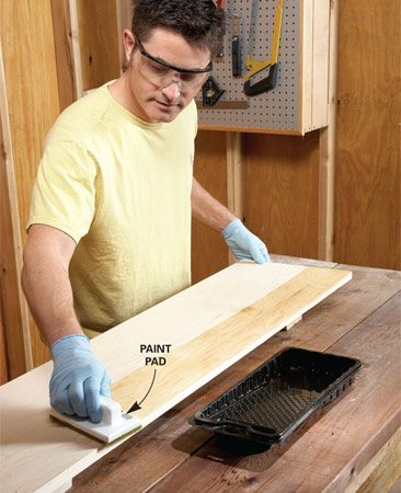 <b>Photo 1: Finish now, save time later</b></br> Prefinishing gives you a faster, neater finish because you'll have fewer corners to mess with. Apply two coats of polyurethane quickly and smoothly with a disposable paint pad.