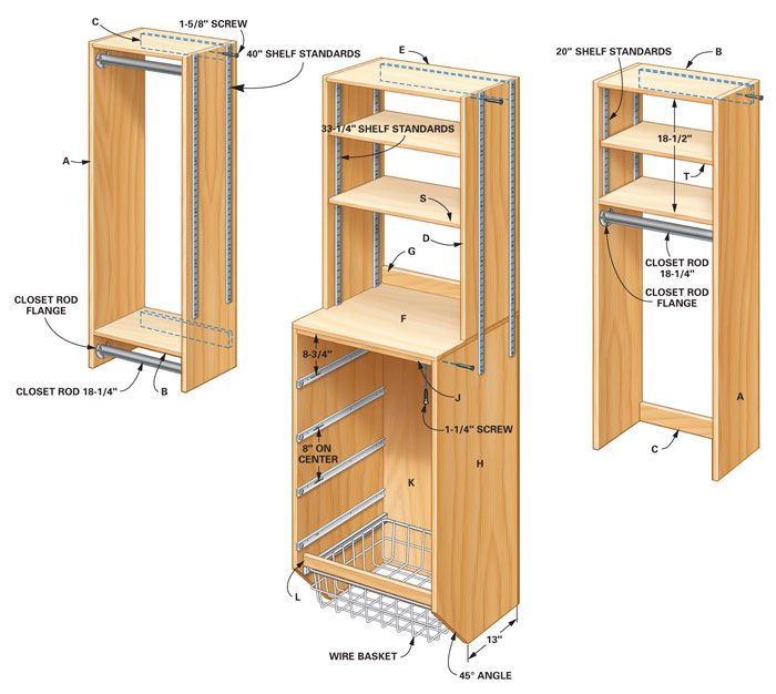 Storage how to triple your closet storage space the family handyman Wardrobe cabinet design woodworking plans