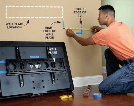<b>Fine-tuning the location</b></br> Mount the wall plate on the brackets. Measure from the right edge of the TV to the bracket. Transfer the measurement to the wall. Then find the nearest stud and drill.
