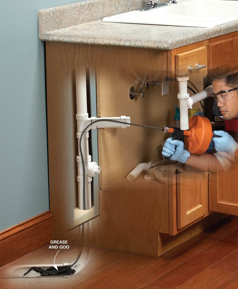 unclogging kitchen sink unclog a kitchen sink the family handyman 3014