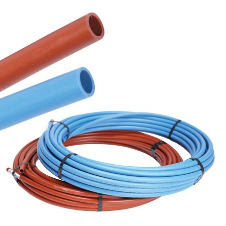 """<b>Coils vs. sticks</b></br> Coils are great when you have lots of long runs, but straight """"sticks"""" are a lot easier to work with. The red and blue colors eliminate hot-and-cold confusion."""