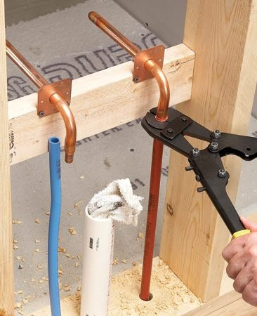 <b>Stub outs</b><br/>Copper stub-outs provide a PEX connection on one end and solid support for shutoff valves on the other.