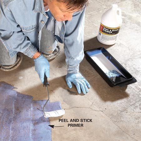 "<b>Photo 2: Prime cracks</b></br> Vacuum the area around cracks and apply a ""peel-and-stick"" primer with a roller or paint pad."