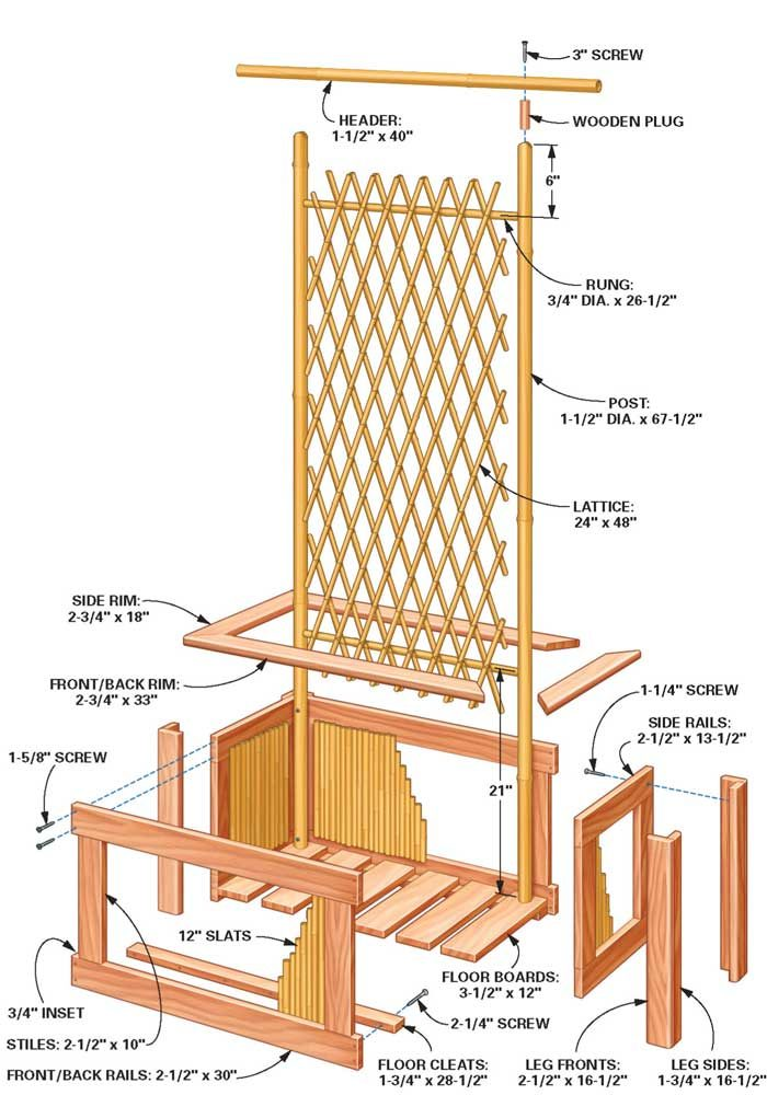 Bamboo planter and trellis details