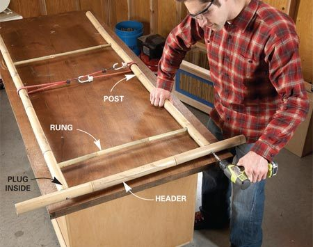 <b>Photo 10: Screw on the header</b></br> Screw the header to the posts. Drill pilot holes to avoid splitting the bamboo. Attach the lattice to the rungs using wire ties.