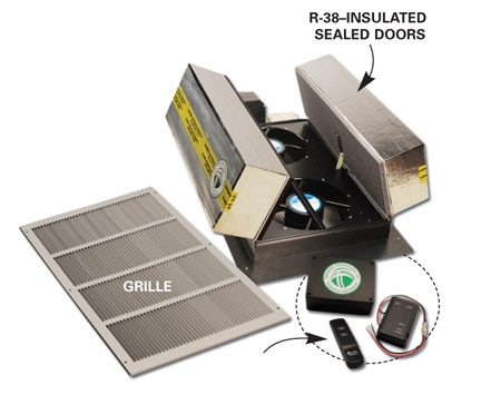 <b>Insulated attic fan door</b></br> Newer attic fans have insulated doors that close in 30 seconds when the fan's not operating.